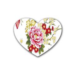 Butterfly Flowers Rose Rubber Coaster (heart)  by Jojostore
