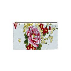 Butterfly Flowers Rose Cosmetic Bag (small)  by Jojostore