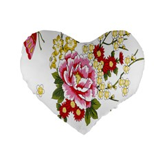 Butterfly Flowers Rose Standard 16  Premium Flano Heart Shape Cushions by Jojostore