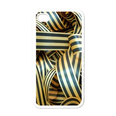 Ribbons Black Yellow Apple Iphone 4 Case (white) by Jojostore