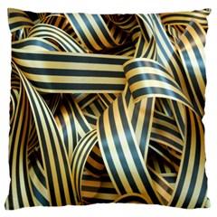 Ribbons Black Yellow Standard Flano Cushion Case (one Side) by Jojostore