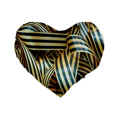Ribbons Black Yellow Standard 16  Premium Flano Heart Shape Cushions by Jojostore