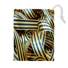 Ribbons Black Yellow Drawstring Pouches (extra Large) by Jojostore
