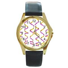 Tape Birthday Ribbon Party Yellow Purple Round Gold Metal Watch by Jojostore