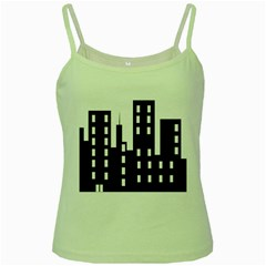 Tower City Town Building Black Green Spaghetti Tank by Jojostore