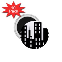 Tower City Town Building Black 1 75  Magnets (10 Pack)  by Jojostore