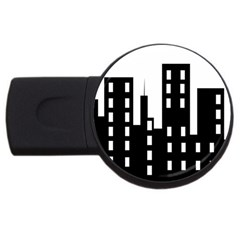 Tower City Town Building Black Usb Flash Drive Round (4 Gb) by Jojostore