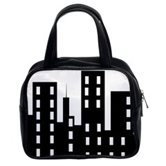Tower City Town Building Black Classic Handbags (2 Sides) by Jojostore