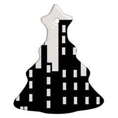 Tower City Town Building Black Christmas Tree Ornament (two Sides) by Jojostore