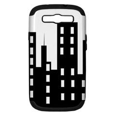Tower City Town Building Black Samsung Galaxy S Iii Hardshell Case (pc+silicone) by Jojostore