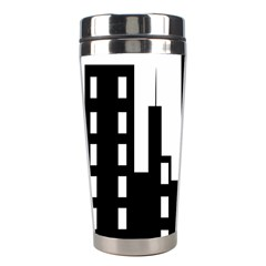 Tower City Town Building Black Stainless Steel Travel Tumblers by Jojostore