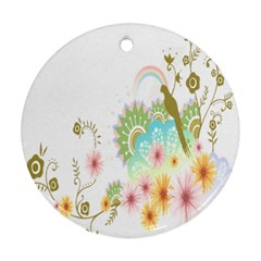 Wreaths Sexy Flower Star Leaf Rose Sunflower Bird Summer Round Ornament (two Sides) by Mariart