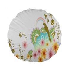 Wreaths Sexy Flower Star Leaf Rose Sunflower Bird Summer Standard 15  Premium Round Cushions by Mariart