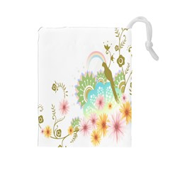 Wreaths Sexy Flower Star Leaf Rose Sunflower Bird Summer Drawstring Pouches (large)  by Mariart