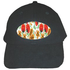 Flower Floral Red Yellow Leaf Green Sexy Summer Black Cap by Mariart