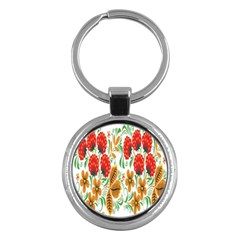 Flower Floral Red Yellow Leaf Green Sexy Summer Key Chains (round)  by Mariart