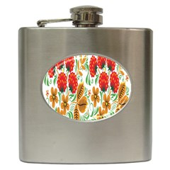 Flower Floral Red Yellow Leaf Green Sexy Summer Hip Flask (6 Oz) by Mariart