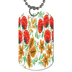 Flower Floral Red Yellow Leaf Green Sexy Summer Dog Tag (two Sides) by Mariart