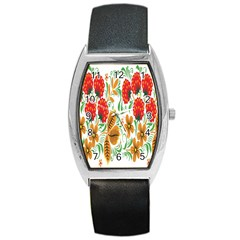 Flower Floral Red Yellow Leaf Green Sexy Summer Barrel Style Metal Watch by Mariart