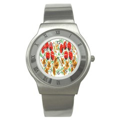 Flower Floral Red Yellow Leaf Green Sexy Summer Stainless Steel Watch by Mariart