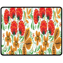 Flower Floral Red Yellow Leaf Green Sexy Summer Fleece Blanket (medium)  by Mariart