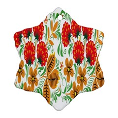 Flower Floral Red Yellow Leaf Green Sexy Summer Ornament (snowflake) by Mariart