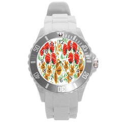 Flower Floral Red Yellow Leaf Green Sexy Summer Round Plastic Sport Watch (l) by Mariart