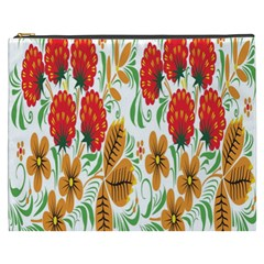 Flower Floral Red Yellow Leaf Green Sexy Summer Cosmetic Bag (xxxl)  by Mariart