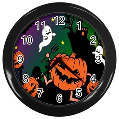 Happy Halloween Wall Clocks (black) by Mariart