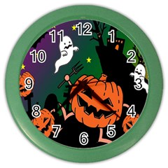 Happy Halloween Color Wall Clocks by Mariart