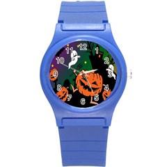 Happy Halloween Round Plastic Sport Watch (s) by Mariart
