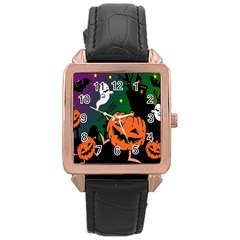 Happy Halloween Rose Gold Leather Watch  by Mariart