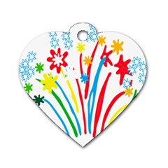 Fireworks Rainbow Flower Dog Tag Heart (two Sides) by Mariart