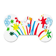 Fireworks Rainbow Flower Dog Tag Bone (two Sides) by Mariart