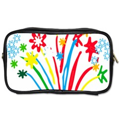 Fireworks Rainbow Flower Toiletries Bags 2 Side by Mariart