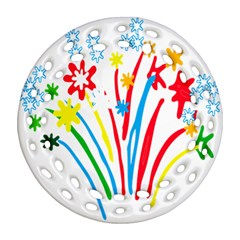 Fireworks Rainbow Flower Round Filigree Ornament (two Sides) by Mariart