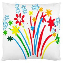 Fireworks Rainbow Flower Large Cushion Case (two Sides) by Mariart