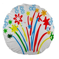Fireworks Rainbow Flower Large 18  Premium Round Cushions by Mariart