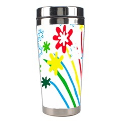Fireworks Rainbow Flower Stainless Steel Travel Tumblers by Mariart