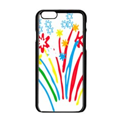 Fireworks Rainbow Flower Apple Iphone 6/6s Black Enamel Case by Mariart