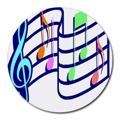 Music Note Tone Rainbow Blue Pink Greeen Sexy Round Mousepads by Mariart