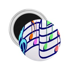 Music Note Tone Rainbow Blue Pink Greeen Sexy 2 25  Magnets by Mariart