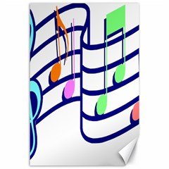 Music Note Tone Rainbow Blue Pink Greeen Sexy Canvas 24  X 36  by Mariart