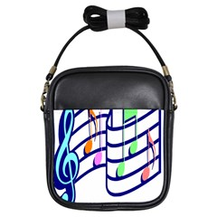 Music Note Tone Rainbow Blue Pink Greeen Sexy Girls Sling Bags by Mariart
