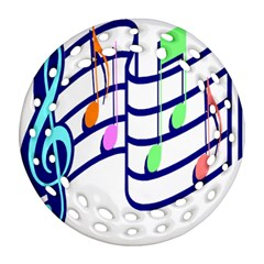 Music Note Tone Rainbow Blue Pink Greeen Sexy Ornament (round Filigree) by Mariart