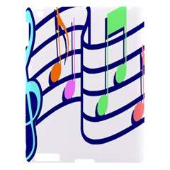 Music Note Tone Rainbow Blue Pink Greeen Sexy Apple Ipad 3/4 Hardshell Case by Mariart