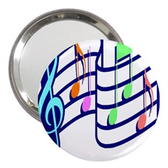 Music Note Tone Rainbow Blue Pink Greeen Sexy 3  Handbag Mirrors by Mariart