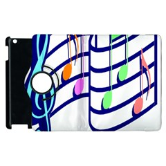 Music Note Tone Rainbow Blue Pink Greeen Sexy Apple Ipad 2 Flip 360 Case by Mariart