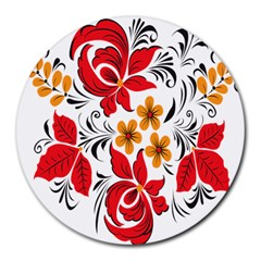 Flower Red Rose Star Floral Yellow Black Leaf Round Mousepads by Mariart