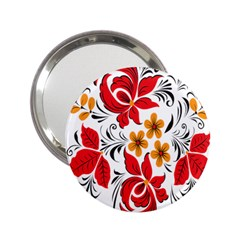Flower Red Rose Star Floral Yellow Black Leaf 2 25  Handbag Mirrors by Mariart